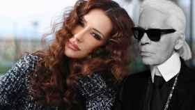 Adara Molinero y Karl Lagerfeld, en un montaje de Jaleos.