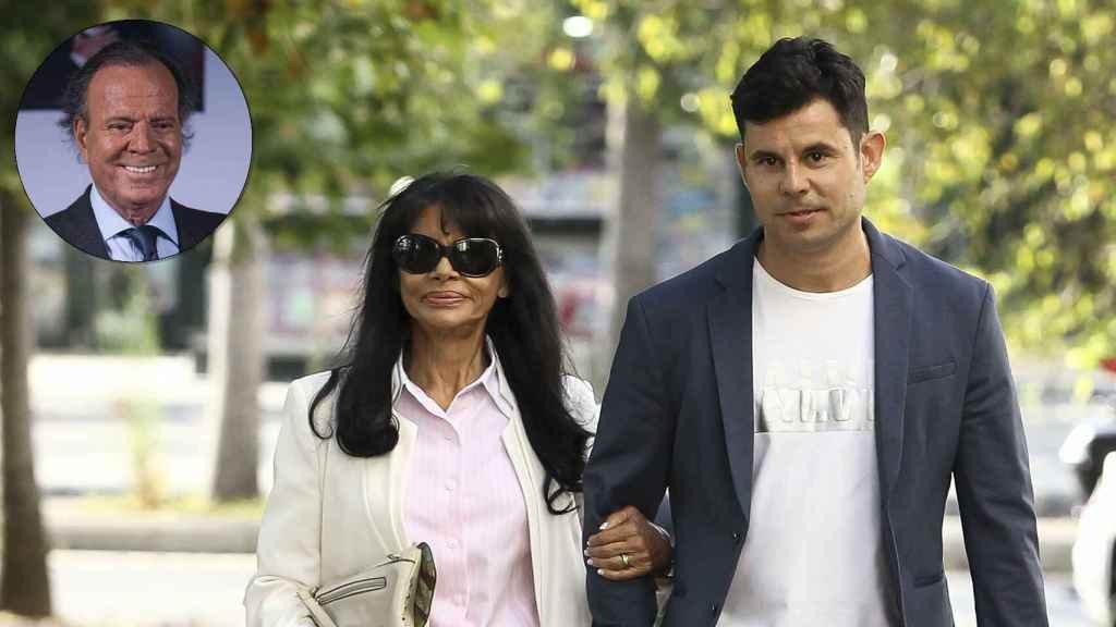 Julio Iglesias junto a su hijo ilegítimo Javier y la madre de este, María Edite.