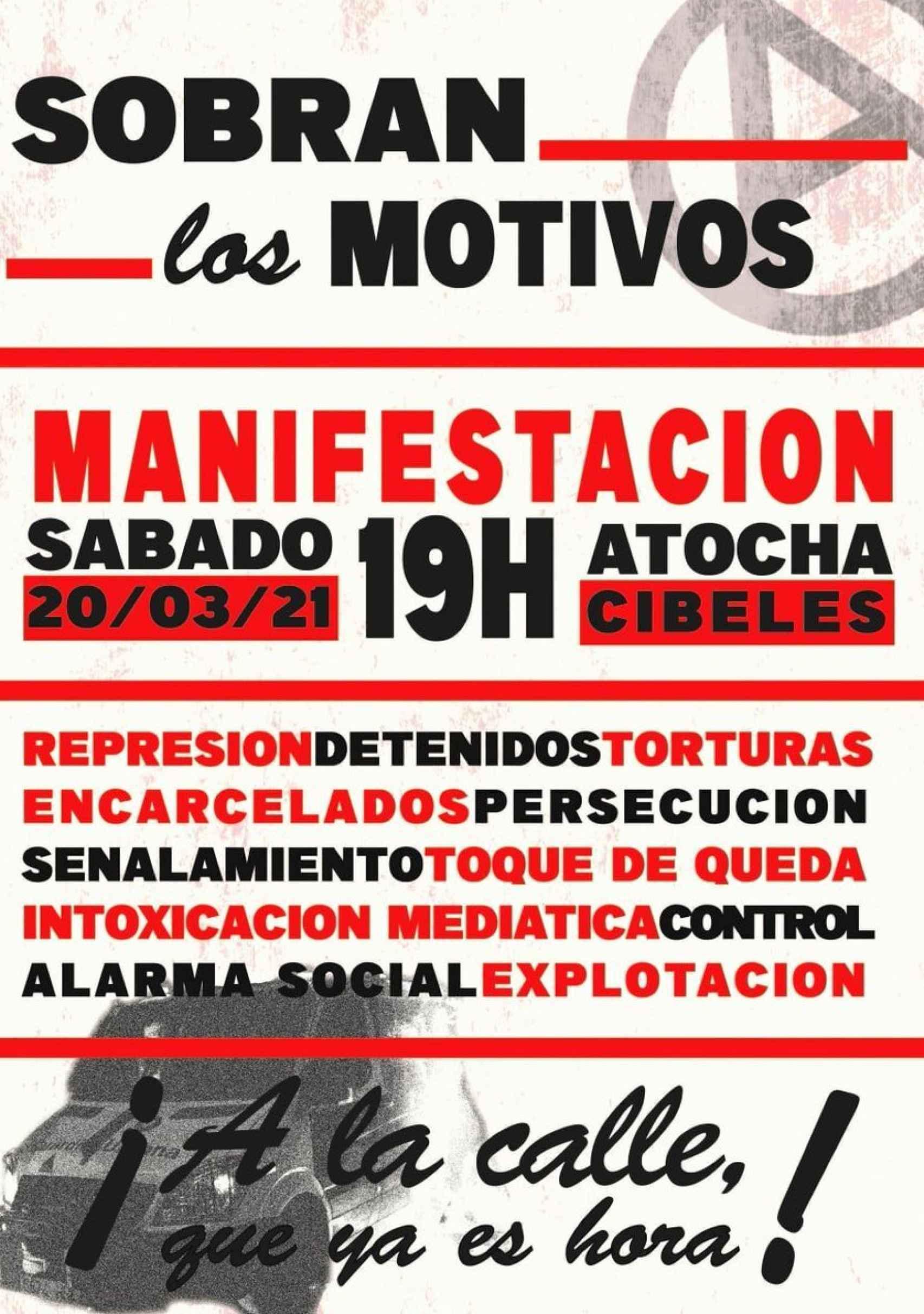 El cartel que están difundiendo los grupos anarquistas para el 20-M.