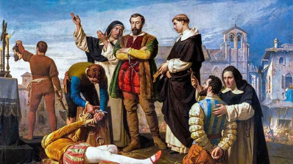 La ejecución de los comuneros Juan de Padilla, Juan Bravo y Francisco Maldonado en Villalar el día 24 de abril de 1521.