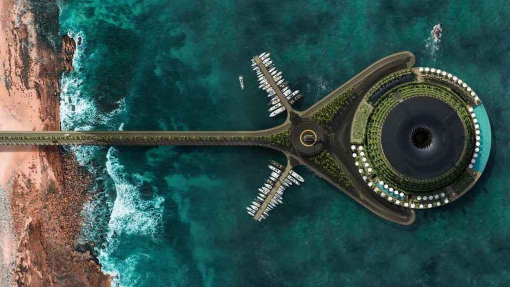 Vista aérea del hotel flotante.