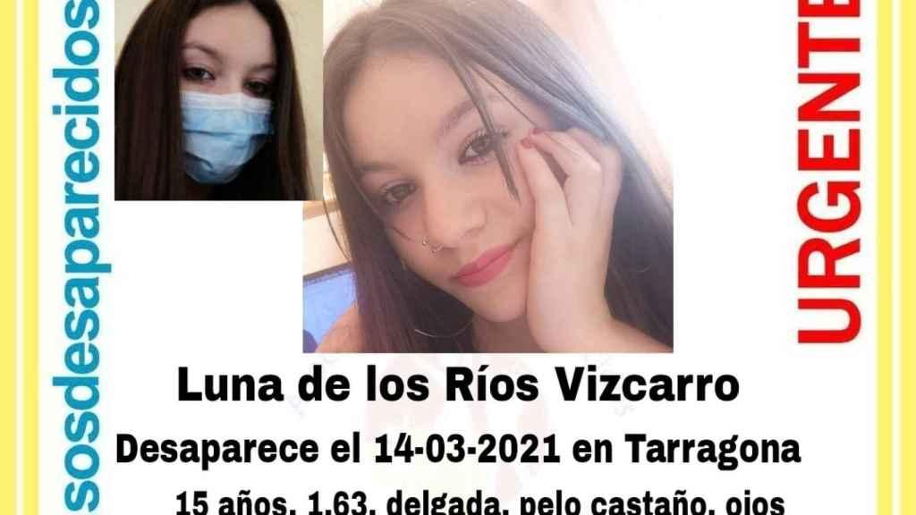 Luna de los Ríos Vizcarro, le menor de 15 años desaparecida en Pla de Santa María (Tarragona).