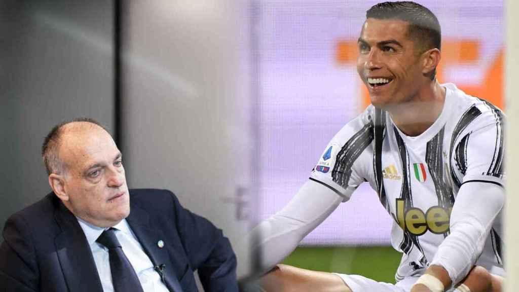 Javier Tebas y Cristiano Ronaldo, en un fotomontaje