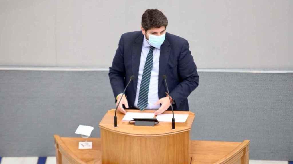 López Miras, en su turno de réplica en la Asamblea Regional durante la moción.
