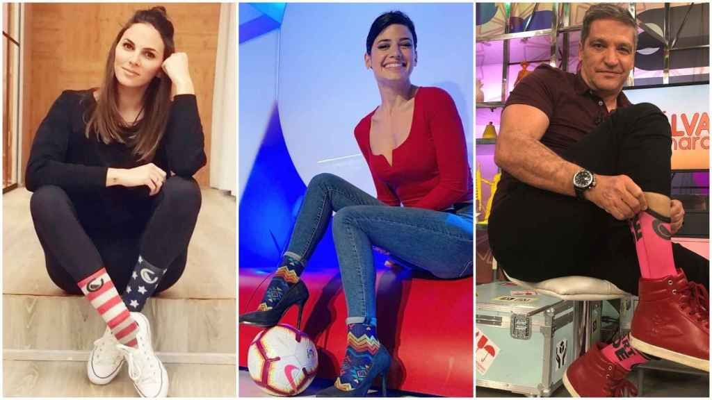 Irene Rosales, Ares Teixidó y Gustavo González con calcetines Sonsocks.