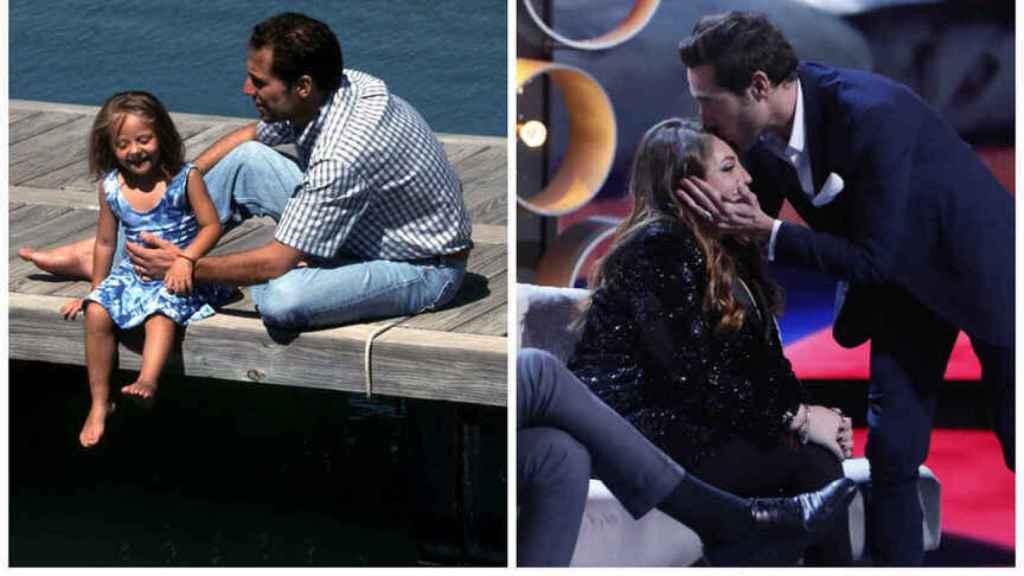 Rocío Flores y su padre en una imagen de 2001 y otra en 2019.