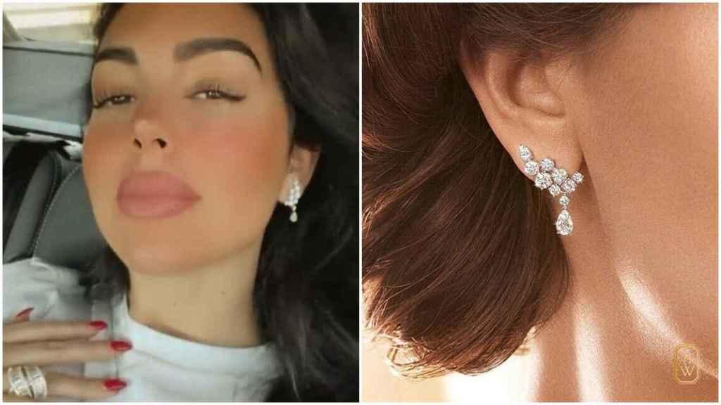 Pendientes de Harry Winston de diamantes y platino.