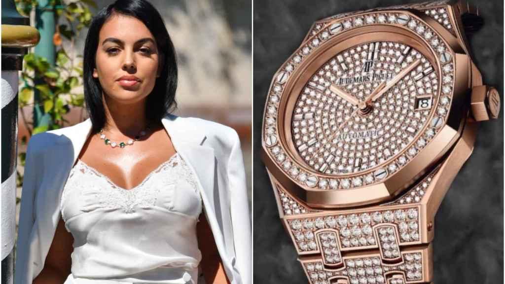 Georgina Rodríguez y su reloj de Audemars Piguet en un montaje de Jaleos.