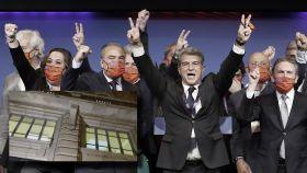 Laporta celebra con su junta directiva