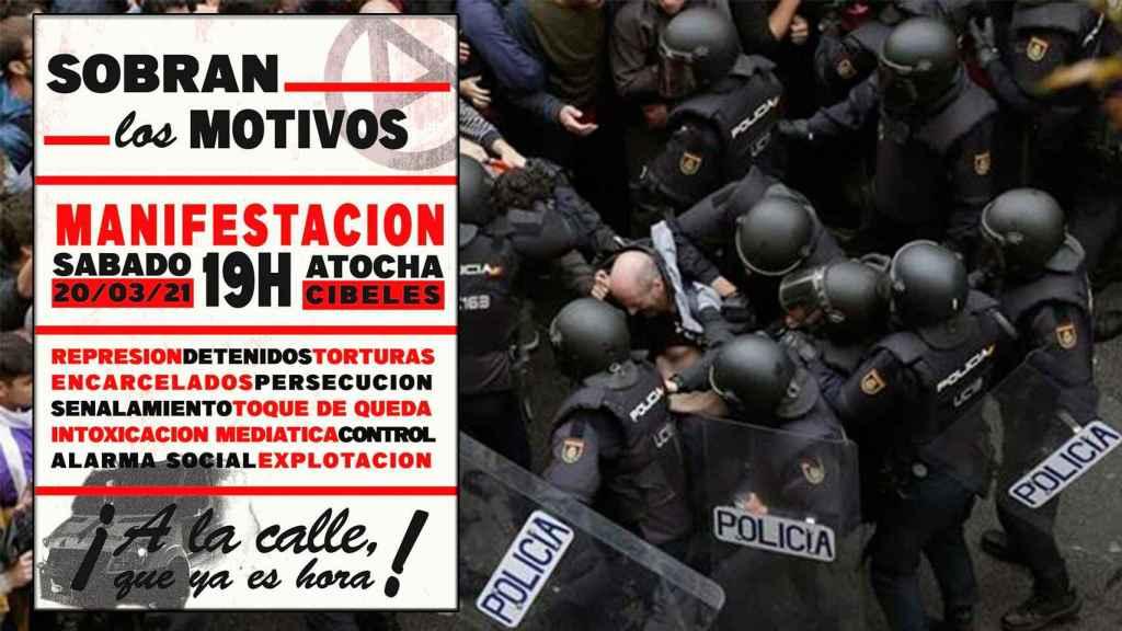 El cartel que han difundido los anarquistas y que confirma su asistencia el 20-M.