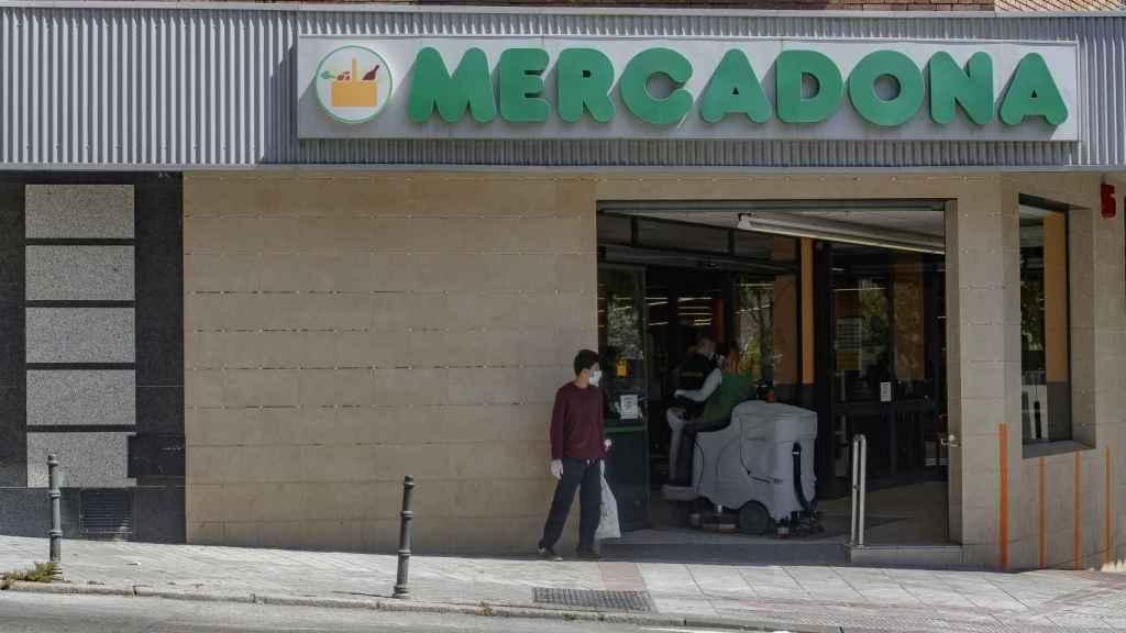 La entrada de un Mercadona de Madrid.