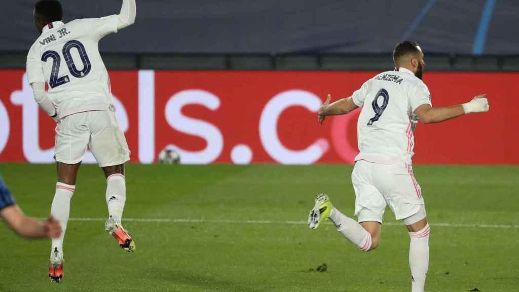 Vinicius celebra un gol en la Champions League