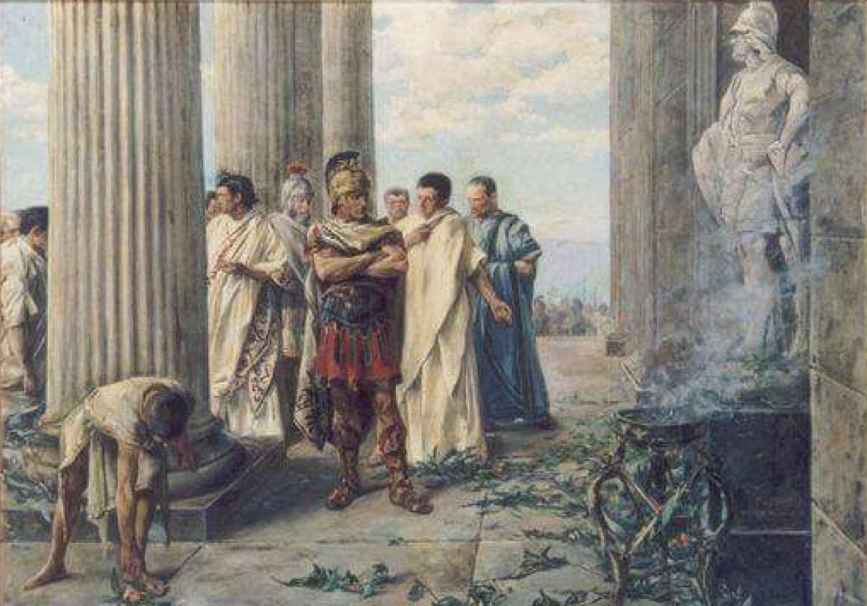 Julio César ante la estatua de Alejandro Magno en el Templo de Hércules.