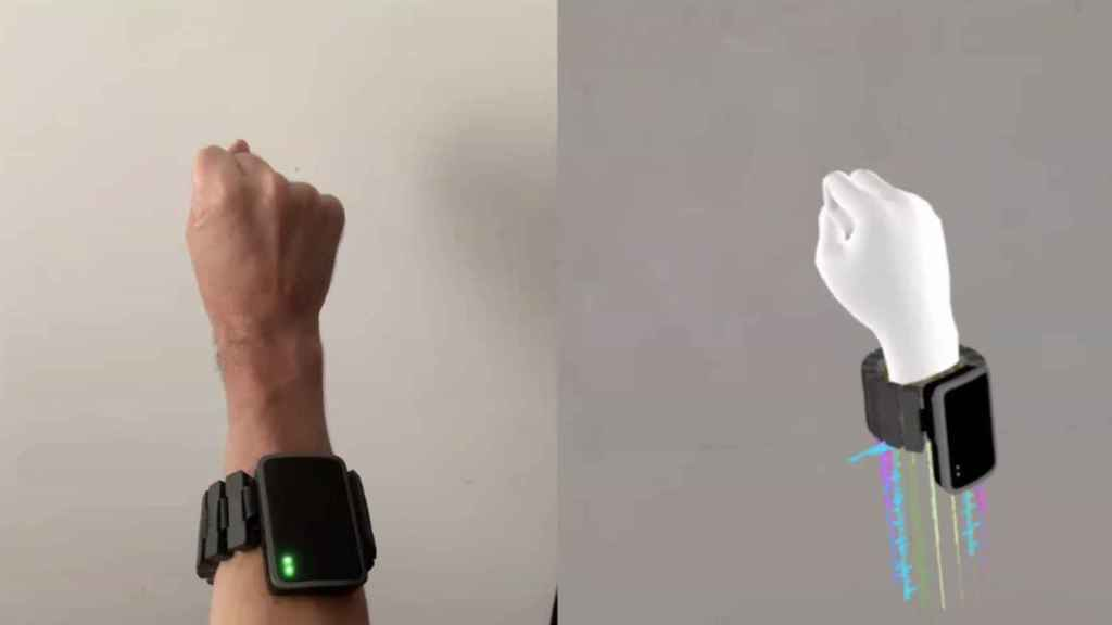 Recreación de cómo el sistema EMG de Facebook recoge los movimientos de nuestras manos