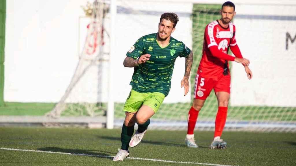 Un jugador del Guijuelo celebra un gol, uno de los equipos más afectados por los positivos en Covid-19. Foto: (@clubdepguijuelo)