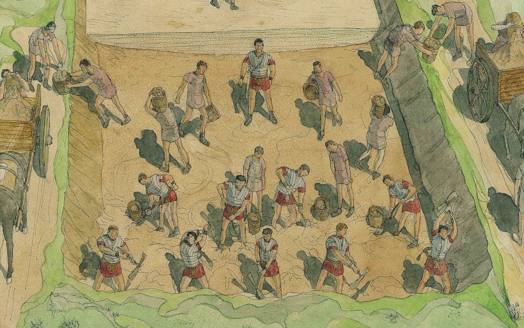 Recreación de legionarios romanos construyendo una calzada según Jean-Calaude Golvin.