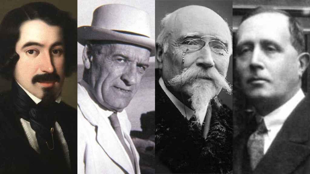 De izquierda da derecha: Espronceda, Ortega y Gasett, Echegaray y Azorín.