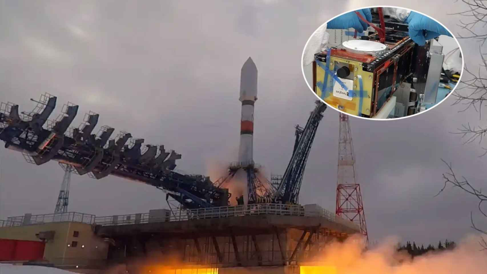 Soyuz-2.1a como el que lanzará el satélite de Sateliot y la integración en el deployer.