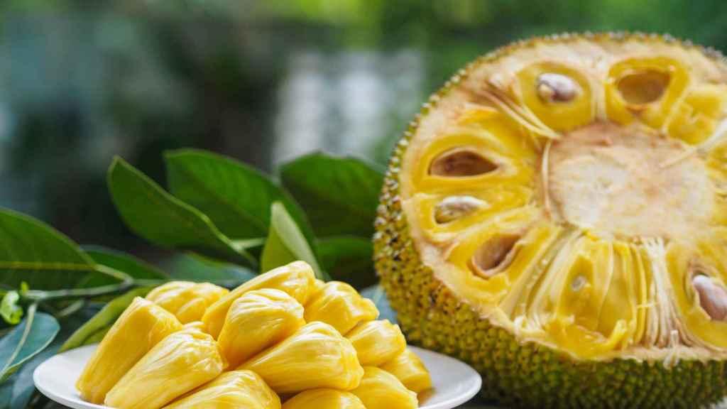 Un jackfruit, o yaca, cortado por la mitad.
