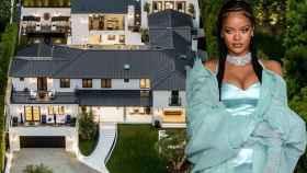 La cantante Rihanna y la vista aérea de su nueva mansión (listada por la inmobiliaria Eric Haskell Group).