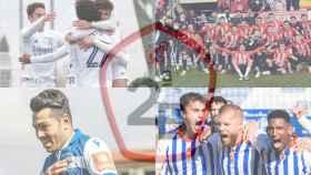 El Real Madrid Castilla, el Zamora CF, el Deportivo de La Coruña y el Recreativo de Huelva celebrando victorias en un fotomontaje con el logo de la Segunda B