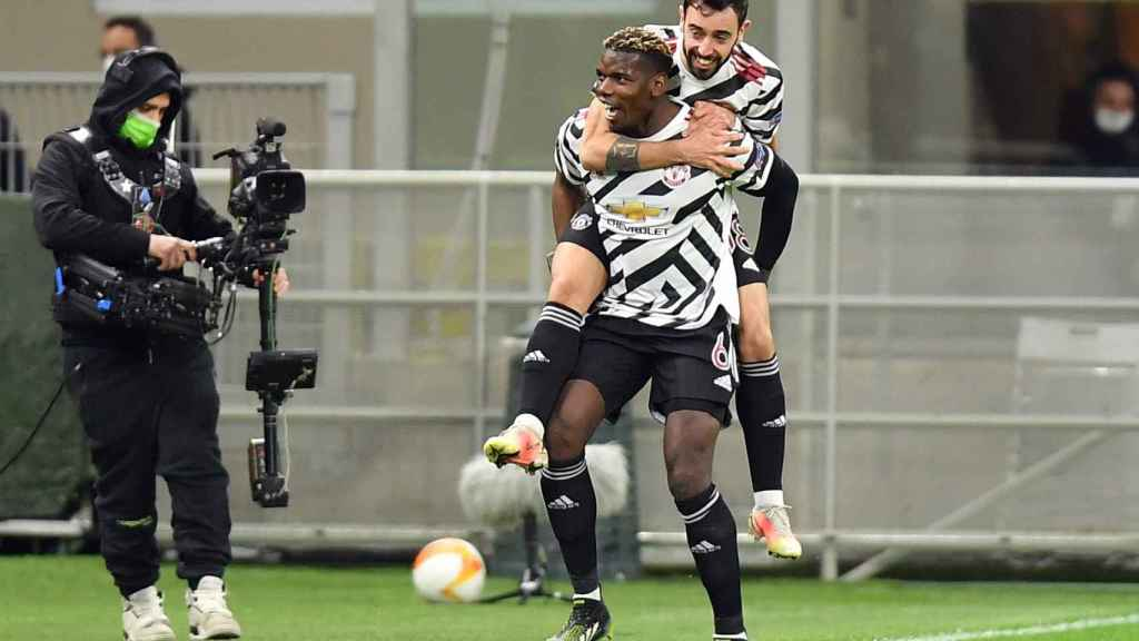 Pogba celebra un gol con el Manchester United en la Europa League