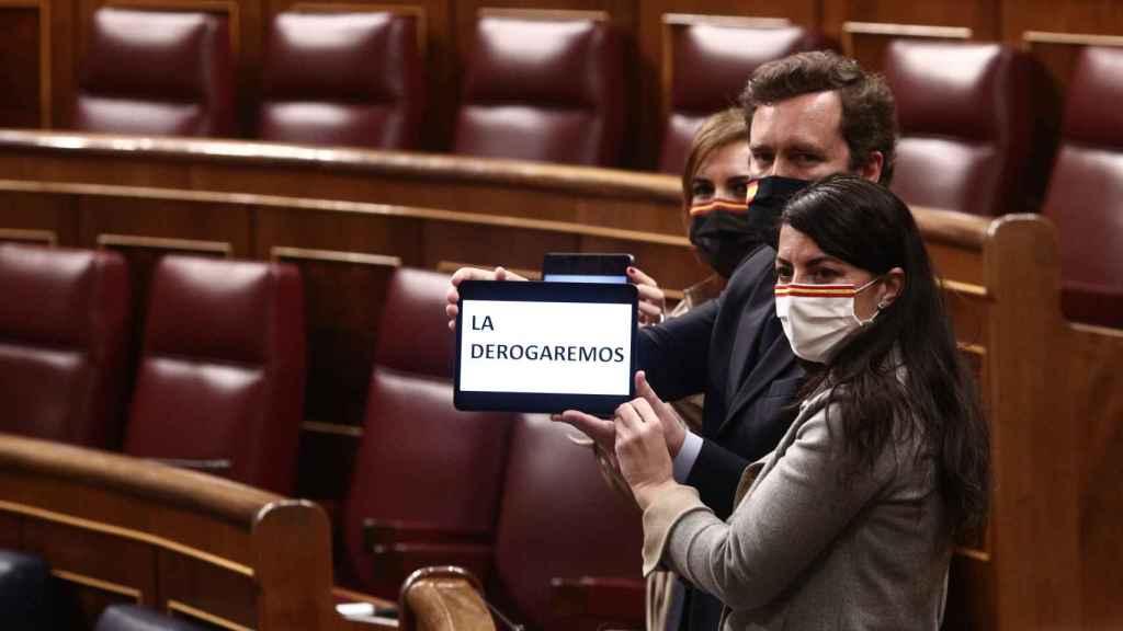 El portavoz parlamentario de Vox, Iván Espinosa de los Monteros y la portavoz adjunta de Vox en el Congreso, Macarena Olona, durante el debate de la ley en el Congreso.