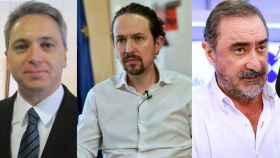 Vicente Vallés , Pablo Iglesias y Carlos Herrera, en imágenes de archivo.