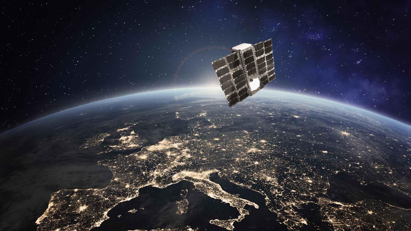 Recreación del lanzamiento de un satélite.