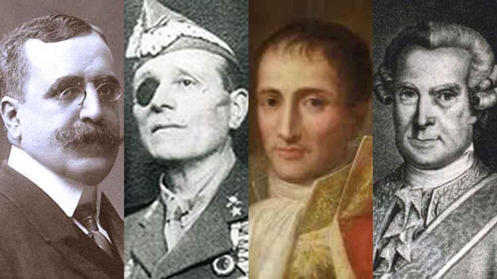 De izquierda da derecha: Canalejas, Millán Astray, Pepe Botella y Gálvez y Gallardo.