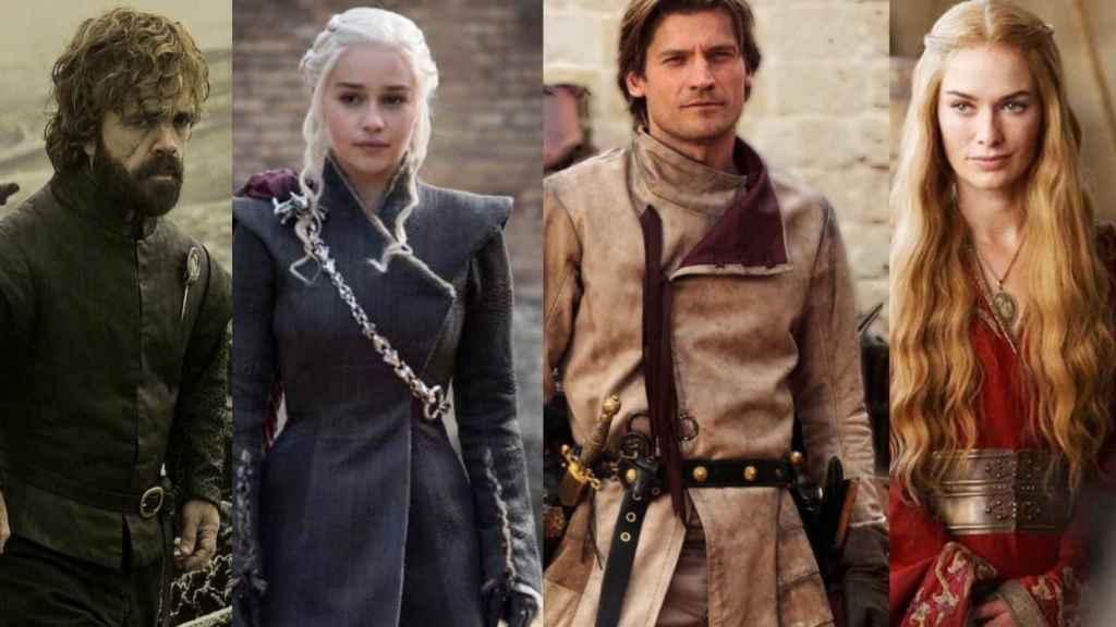 De izquierda a derecha: Tyrion Lannister, Daenerys Targaryen, Jaime Lannister y Cersei Lannister.