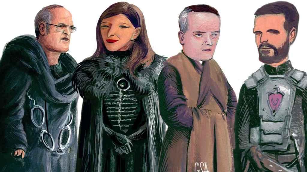 De izquierda a derecha: Maestre Aemon Gabilondo, Sansa Díaz, Varys Redondo, Stannis Casado.