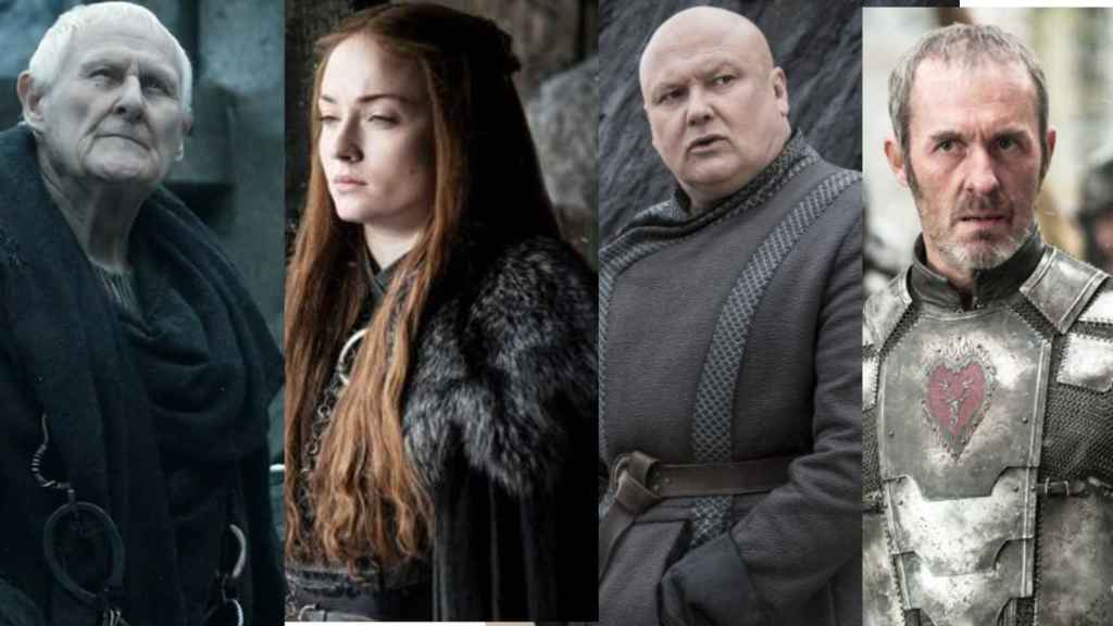 De izquierda a derecha: Mestre Aemon, Sansa Stark, Varys y Stannis Baratheon.