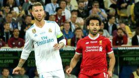 Sergio Ramos y Mo Salah en la final de la Champions de 2018 en Kiev
