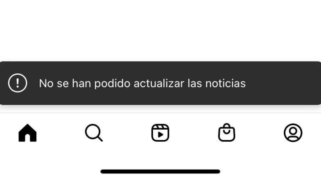 Failure in the Instagram app due to not being able to update the news