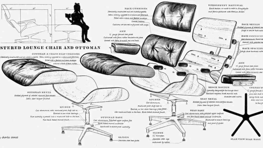 La legendaria Lounge Eames Chair deconstruida.