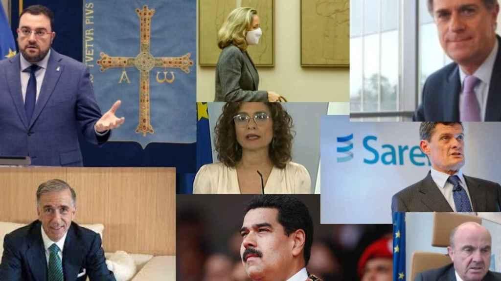 Adrián Barbón, Nadia Calviño, José María Orihuela, Gonzalo Urquijo, María Jesús Montero, Jaime Echegoyen, Nicolás Maduro y Luis de Guindos.