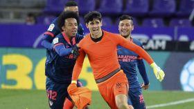 Bono celebra su gol con el Sevilla en Zorrilla
