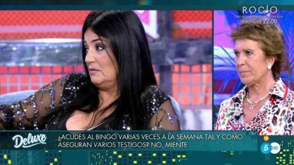 Lely Céspedes en el plató de Telecinco durante su polígrafo.