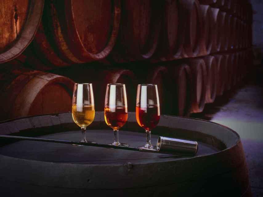 Cata de vinos en una de las bodegas centenarias de Jerez.