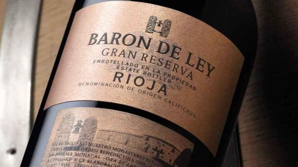 Detalle de una botella de Barón de Ley.