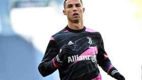 Cristiano Ronaldo, en un calentamiento con la Juventus de Turín