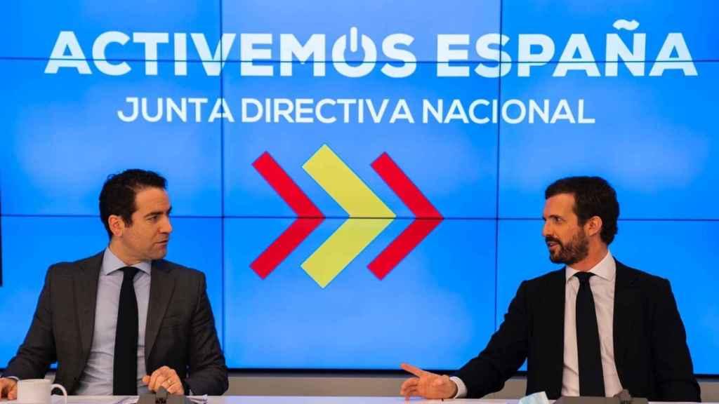 El presidente del PP, Pablo Casado, y el secretario general del PP, Teodoro García Egea.