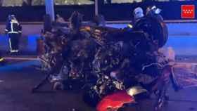 Uno de los coches implicados en la colisión.