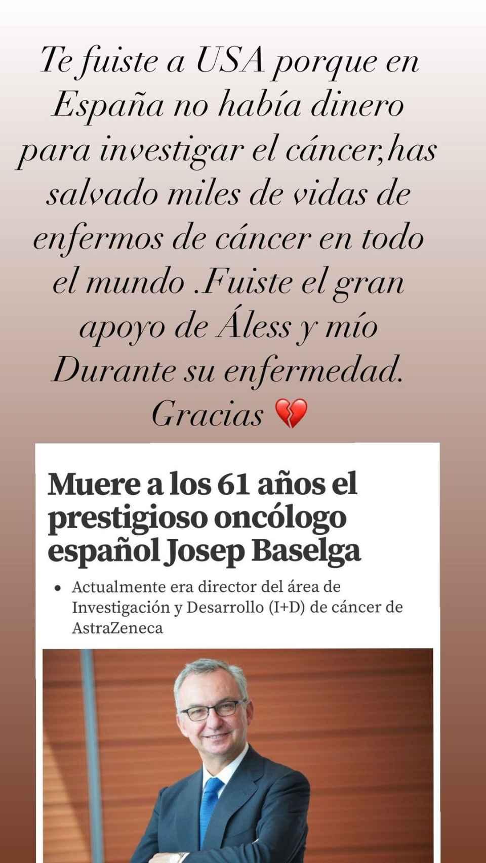 Esta es la imagen compartida por Obregón para despedirse del oncólogo.
