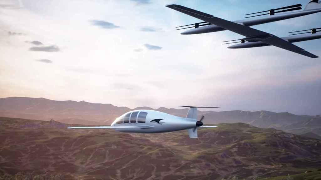 Talyn Cruise y el dron elevador acercándose para aterrizar