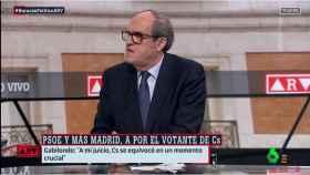 El candidato del PSOE a la Comunidad de Madrid, Ángel Gabilondo, este lunes en La Sexta.
