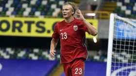 Haaland celebra un gol con la selección de Noruega
