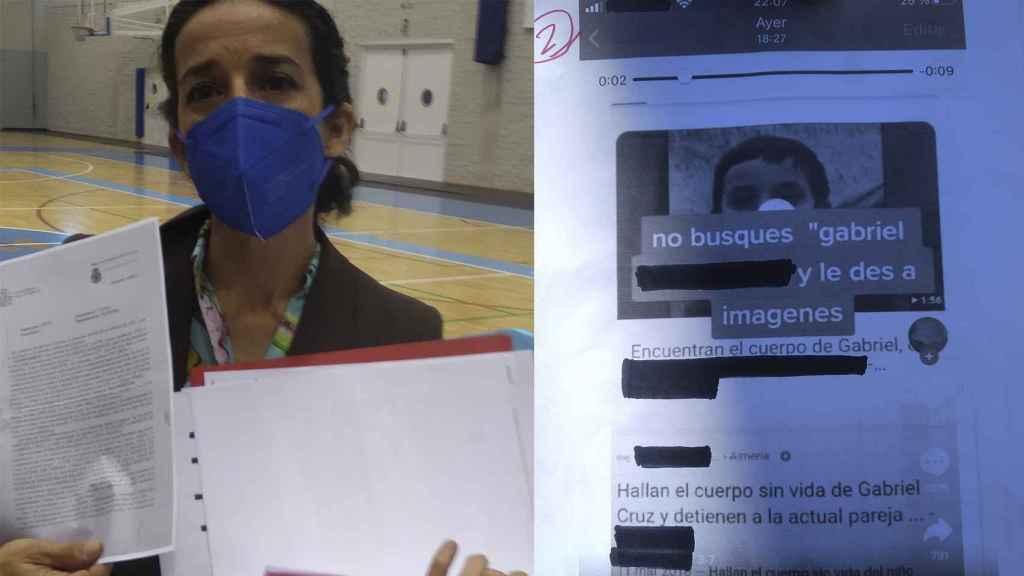 Patricia mostrando la denuncia y las capturas de la publicación de TikTok que ha puesto en conocimiento de la Policía Nacional.