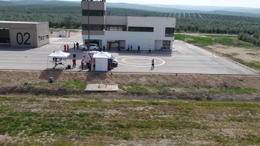 Vista desde uno de los drones empleados por la Cruz Roja en su simulacro de rescate de personas